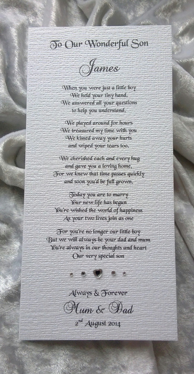 Mother or Parents of the Groom to Son Personalised Keepsake Poem Card