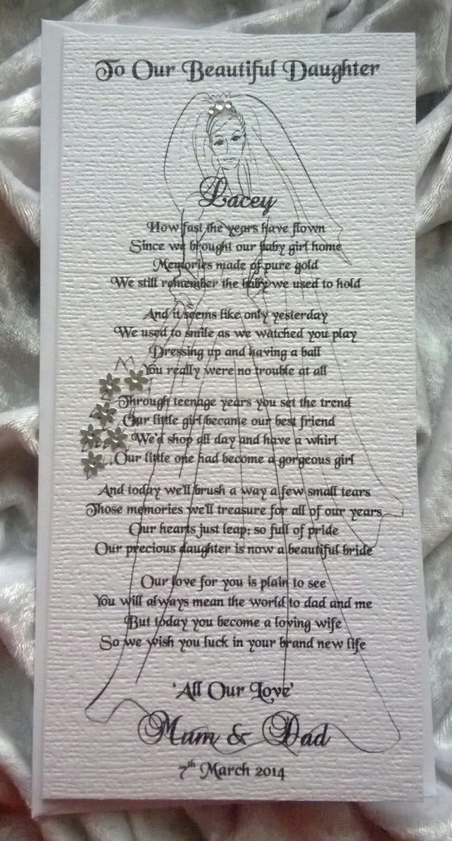 Mother or Parents of the Bride To Daughter Personalised Keepsake Poem ...