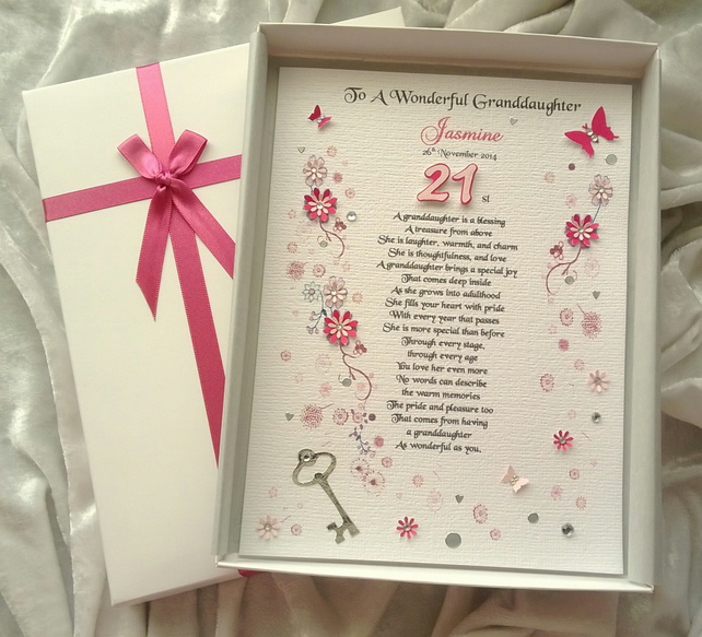 Daughter 18th 21st Birthday Card Personalised Handmade Keepsake Granddaughter