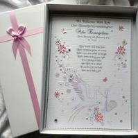 New Baby Girl Congratulations Card. A Luxury Personalised Keepsake