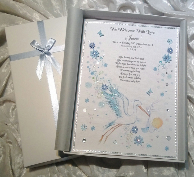 New Baby Boy Congratulations Card A Luxury Pe