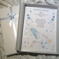 New Baby Boy Congratulations Card.  A Luxury Personalised Keepsake