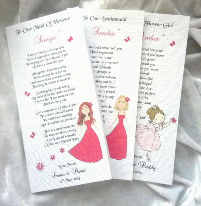 Bridesmaid, Maid of Honour, Flower Girl Personalised Keepsake Thankyou Poem Card