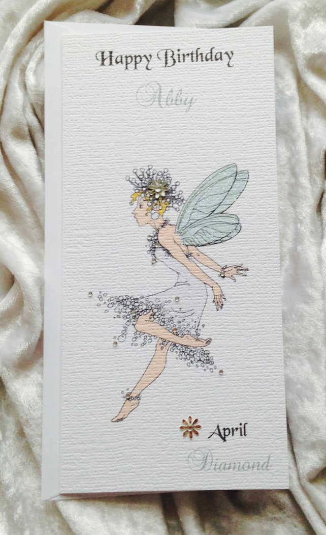 Beautiful Girls Birthstone Fairies Birthday Card Personalised Handmade Keepsake