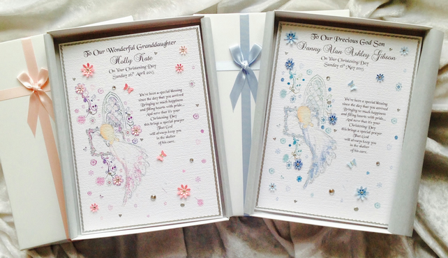 Baby's Christening, Baptism or Naming Card Luxury Personalised Handmade Keepsake