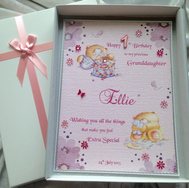 Baby Girl's First Birthday Card Personalised & Boxed