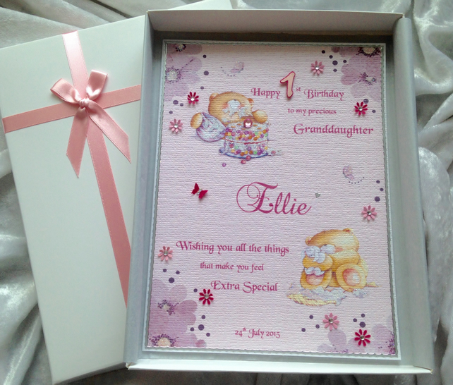 Baby Girls First Birthday Card Personalised A