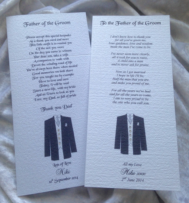 Father of the Groom Personalised Wedding Keepsake Thankyou Poem Card
