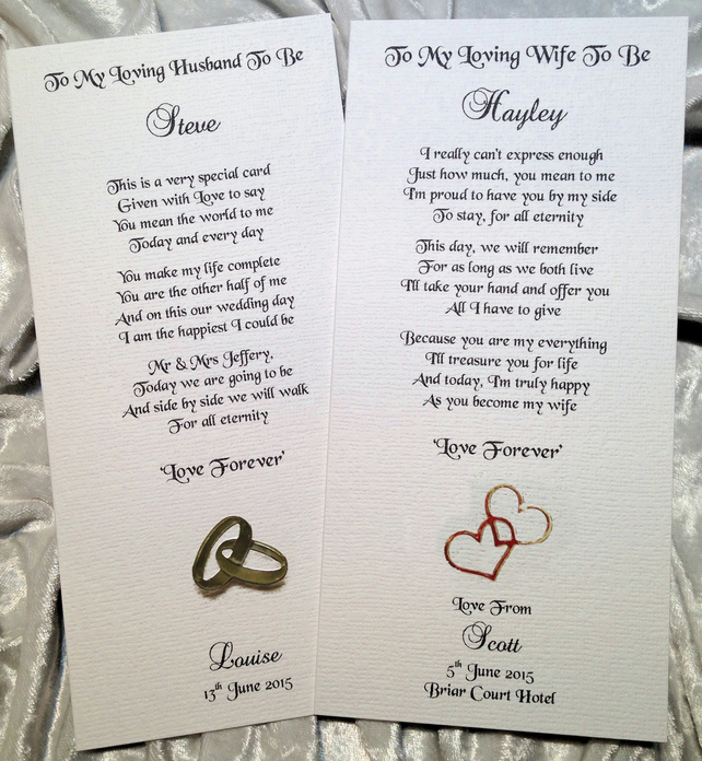 Husband-to-be Wedding Personalised Wedding Keepsake Thankyou Poem Card