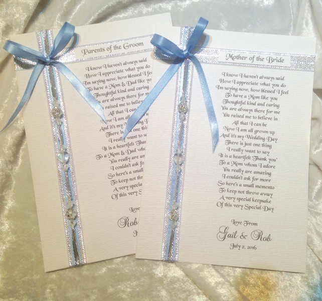 Personalised Wedding Day Poem For Parents Of Th... - Folksy