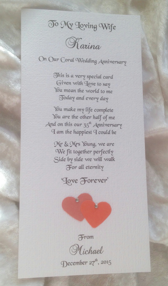 Special Wedding Anniversary Card for Husband or Wife Personalised Keepsake Poem