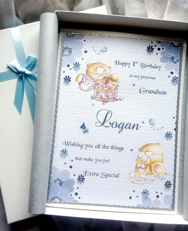 Baby Boy's First Birthday Card Personalised & Boxed