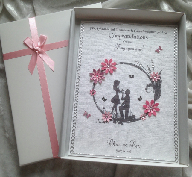 PERSONALISED Handmade Illustrated Engagement Card She put a ring on it!