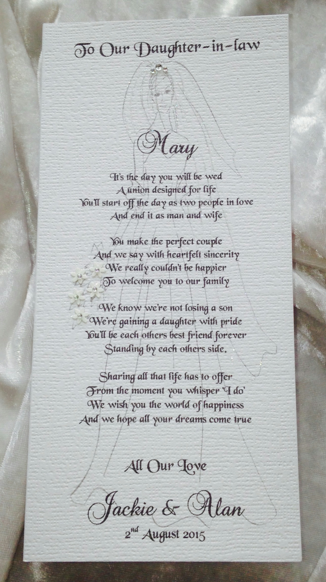Mother or Parents of Groom To Daughter-in-law Personalised Keepsake Poem Card