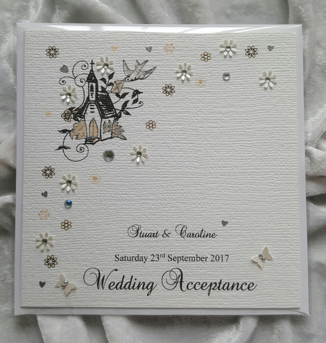Wedding Acceptance Card A Personalised Handmade Luxury Keepsake