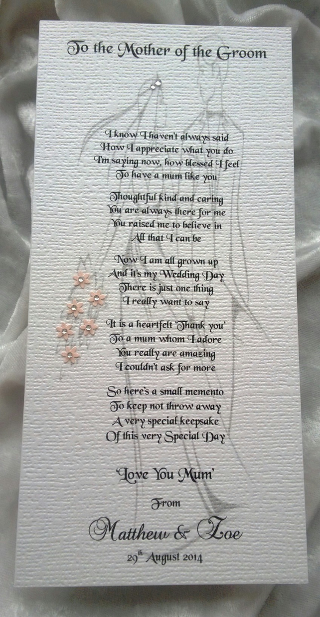 Mother-Father-Parents of the Groom from Son Personalised Wedding Keepsake Card