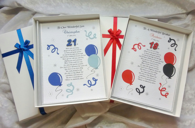 Special Son 18th 21st Birthday Card Personalised Handmade Keepsake Grandson etc.