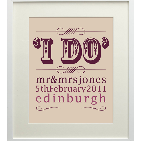 SALE Mr & Mrs 'I DO' Personalised A4 Art Print