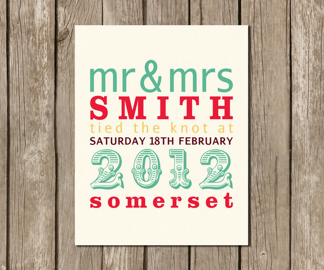 NEW Mr & Mrs Personalised Wedding Announcement A4 Art Print