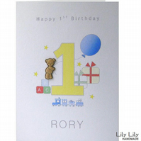 1st Birthday Card - Personalised Teddy Bear Design