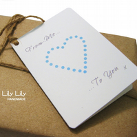 Gift Tags x8 - Blue Heart