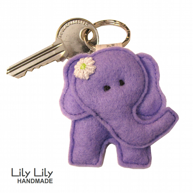 Handmade Elephant Keyring (Lilac) - Free delivery