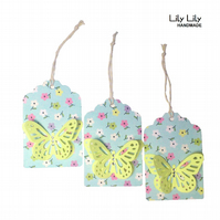 Set of 3 Gift Tags - Yellow butterfly