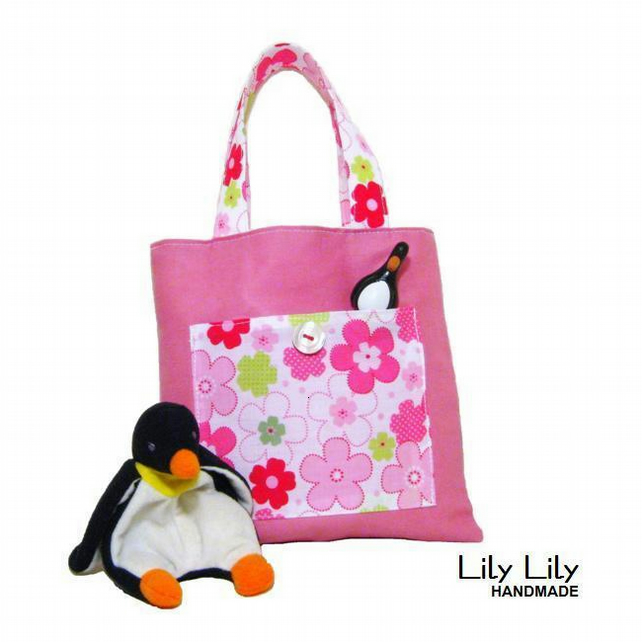 Girl's Toy Bag, Book bag, mini tote bag - Pink Floral - Free delivery