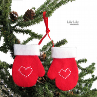 Handmade Christmas Decoration - Embroidered Felt mittens by Lily Lily Handmade