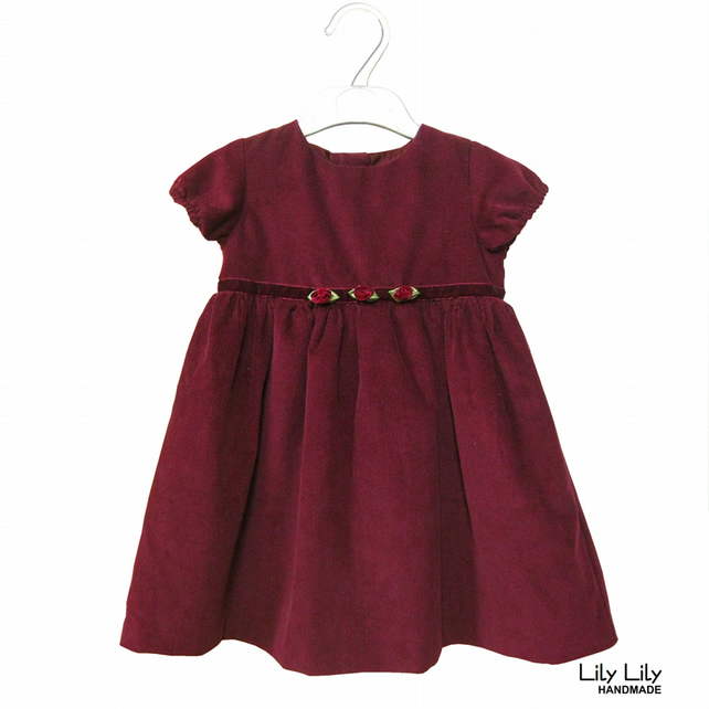 Handmade Baby Dress 6-12 months (Burgundy baby cord)