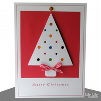 Christmas Card - Modern Christmas Tree Design with multi coloured baubles