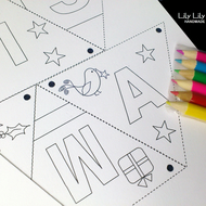 Christmas  or Birthday Colour in Bunting Craft Kit, FREE DELIVERY