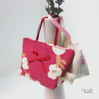 Lavender Bags, set of two, Red and Pink, Handmade scented bags - Free delivery