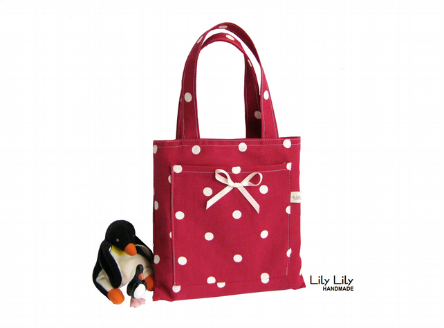 Child's Mini Toy or Book Bag - Red Polka Dot - Free delivery