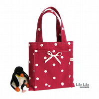 Child's Mini Toy or Book Bag - Red Polka Dot