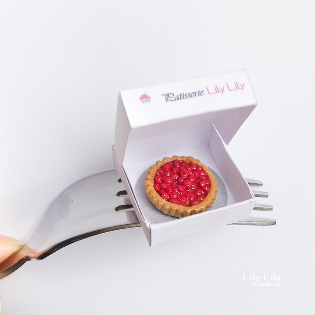 Red Cherry Tart, miniature,1:12 scale, handmade, Free Delivery
