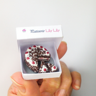 Black Forest Gateau cake, miniature, 1:12 scale, handmade miniature art