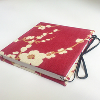 Notebook, Sketchbook, Journal, fabric covered, Red Cherry blossom