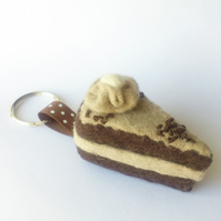 Chocolate fudge cake keyring, bag charm, handmade by Lily Lily Handmade
