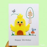 Finger puppet birthday card, farm animals, chicken