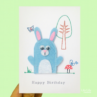 Birthday Bunny finger puppet card, woodland animals, handmade