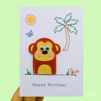 Finger puppet birthday card, safari animals, monkey