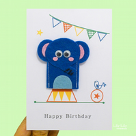 Finger puppet birthday card, circus animals, elephant