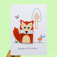 Finger puppet birthday card, handmade, woodland animals, fox