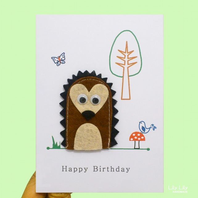 Finger puppet birthday card, woodland animals, Hedgehog