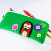 Pencil case, Handmade hedgehog design