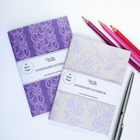 Two handmade notebooks, lace designs