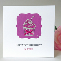 Personalised Birthday Card, cupcake design
