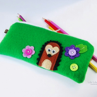 Pencil case, Handmade hedgehog design - Free delivery