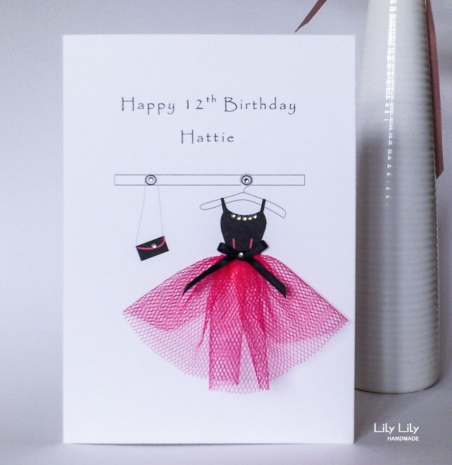 Personalised13th, 16th, 18th Birthday Card, Pink and black party dress, handmade